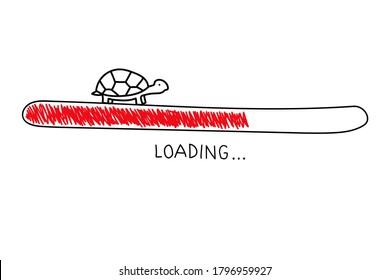 Hand drawn sketch turtle with progress loading bar in doodle style. Slow internet concept. Illustration on white background.