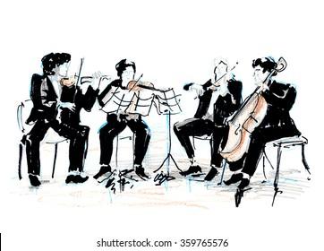 Hand drawn sketch of violinist quartet