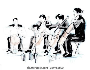 Hand drawn sketch of violoncellist quartet (string quartet)