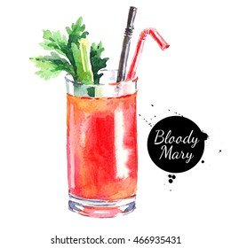 Hand drawn sketch watercolor cocktail Bloody Mary. Isolated food illustration
