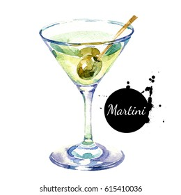 Hand drawn sketch watercolor cocktail Martini. Painted isolated food illustration