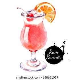 Hand drawn sketch watercolor cocktail Rum Runner. Painting isolated food illustration