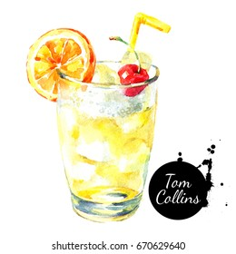 Hand drawn sketch watercolor cocktail Tom Collins. Painted isolated food illustration