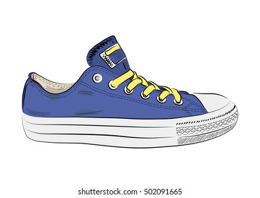 Hand drawn sneakers, gym shoes.