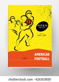 Hand drawn sportsman silhouette. American football player team. Flat sport advertising design template. Placard, poster, banner, leaflet, card. Human figure.