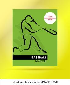 Hand drawn sportsman silhouette. Baseball player team. Flat sport advertising design template. Placard, poster, banner, leaflet, card. Human figure.