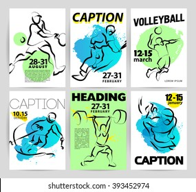 Hand drawn sportsman silhouette sketch. Human athlete figure isolated. Sport competition advertising design, poster, placard, leaflet template. Sport magazine article illustration, print design.
