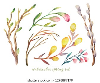 Hand drawn spring flowers, leaves, branches and plants set. Collection of hand drawn forest nature elemnts isolated on white iperfect for design project