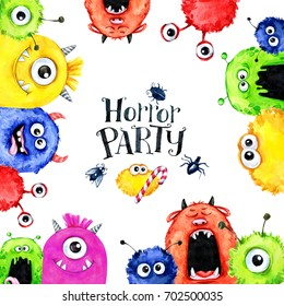 Hand drawn square frame with watercolor funny monster heads. Celebration illustration. Cartoon horror party. Funny beasts. Baby background. Can be use in holidays, birthday design, posters, cards.