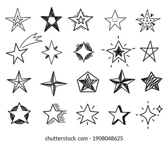 Hand drawn stars. Sketch star shapes, black starburst doodle signs for christmas party invitation, festive texture isolated set