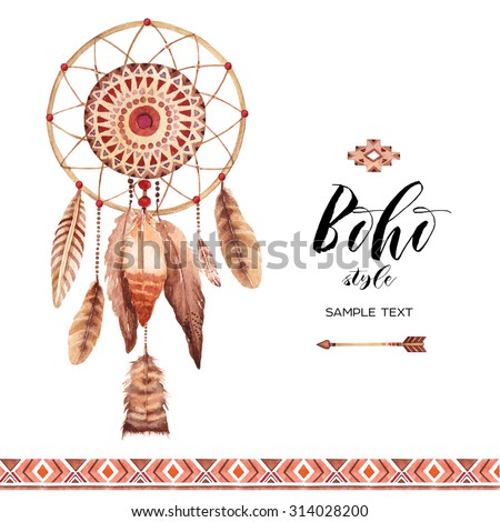 hand drawn style dreamcatcher tribal design stock illustration