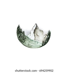 Hand drawn stylized grunge circle with mountains in forest. Watercolor conifers in fog illustration. Nature theme. Artwork. (Can be used as texture for cards, invitations, DIY, web sites)