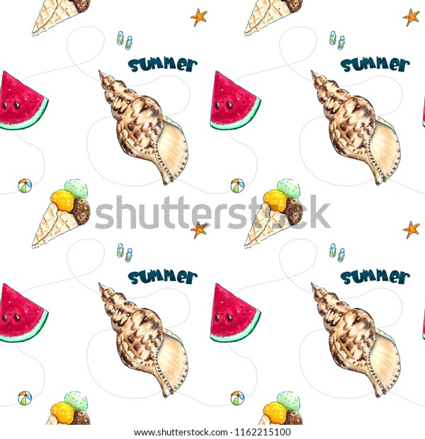 Hand drawn summer seamless background. Sketched waletrmelon, shell and icecream