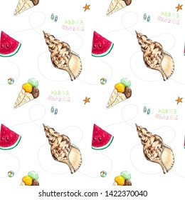 Hand drawn summer seamless pattern on white