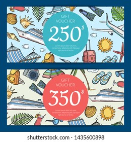 hand drawn summer travel elements discount or gift card voucher templates illustration with price isolated