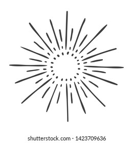 hand drawn sun burst doodle isolated on white