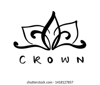 Hand drawn symbol of a stylized icon crown and calligraphic word Crown. illustration isolated on white. Logo design
