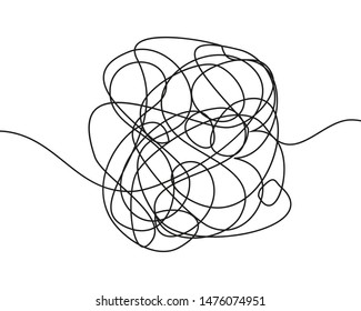 Hand drawn tangle scrawl sketch or black line spherical abstract scribble shape. Tangled chaotic doodle circle drawing circles or thread clew knot isolated on white background