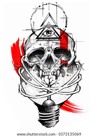 Hand Drawn Tattoo Design Skull Black Stock Illustration Royalty