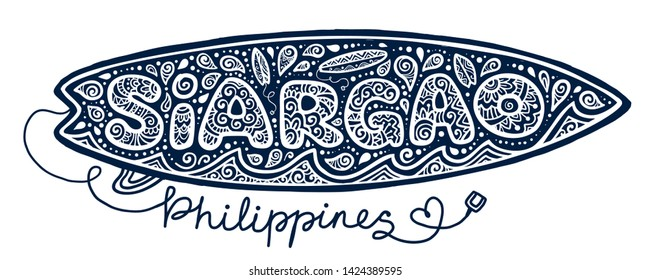 Hand drawn tattoo style surfboard with surfing elements at sign Siargao island Philippines isolated on white background.