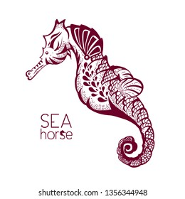 Hand drawn, tattoo stylised seahorse. Marine life sketch zentangle design element for summer vacation illustration