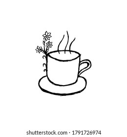Hand drawn tea/coffee cup with floral elements, useful for blog posts, cards, labels, marketing materials.