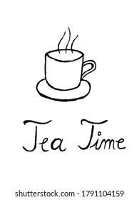Hand drawn tea/coffee cup and handwritten tea time words, useful for blog posts, cards, labels, marketing materials.
