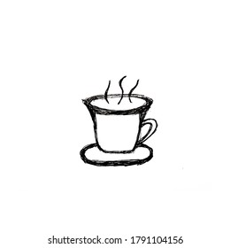Hand drawn tea/coffee cup, useful for blog posts, cards, labels, marketing materials.