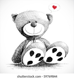 Hand drawn teddy bear isolated on white.