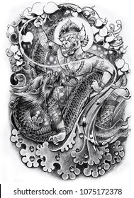 Hand drawn Thai art Tattoo design,Hanuman and Dragon on water wave.