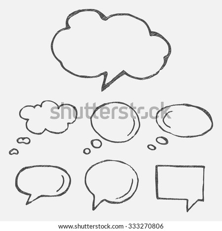 Hand Drawn Thought Speech Bubbles Balloons Stock Illustration