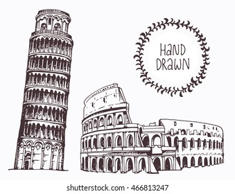 Hand drawn Tower of Pisa and Coliseum, Italy set drawings