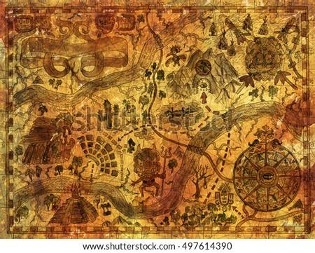 Hand Drawn Treasures Island Map On Stock Illustration 497614390