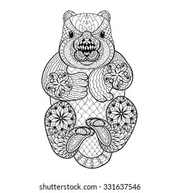 aeee74048a973 Hand drawn tribal Wombat, animal totem for adult Coloring Page in zentangle  style , illustration
