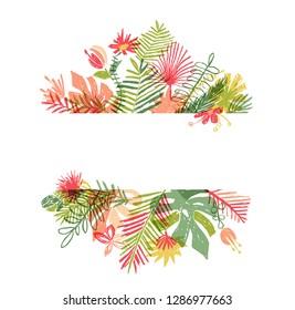 Hand drawn tropical flower, botanical framing. illustration isolated on white background. Floral frame, exotic plant leaf framework, lets flamingle