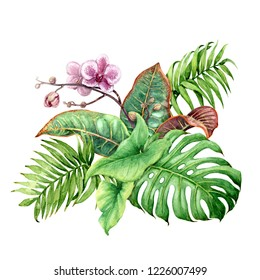 Hand drawn tropical plants. Floral bunch with green leaves and pink orchid flowers isolated on white background.