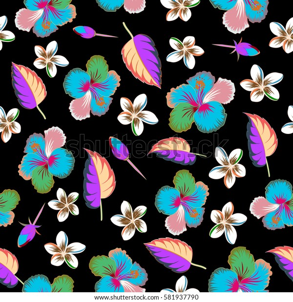 Hand Drawn tropical style texture. Creative universal floral pattern in green and pink colors. Of hibiscus flowers on a black. Ideal for web, card, poster, fabric or textile.