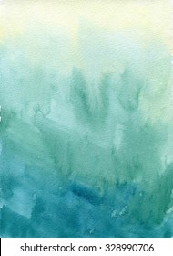 Hand drawn turquoise blue, green watercolor abstract paint texture. Raster gradient splash background.