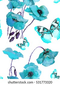 hand drawn turquoise  poppies and butterflies watercolor pattern on white