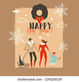 Hand drawn vector abstract Merry Christmas and Happy New Year time vintage cartoon illustrations greeting card template with family people walkin with dog on sleigh isolated on brown background.