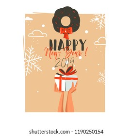Hand drawn vector abstract Merry Christmas and Happy New Year time retro cartoon illustrations greeting card with people hands who holding surprise gift box and mistletoe isolated on blue background.