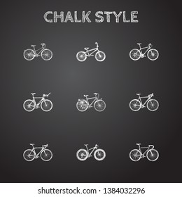 Hand drawn velocipede sketches set. Collection of road velocity, exercise riding, cyclocross drive and other sketch elements.