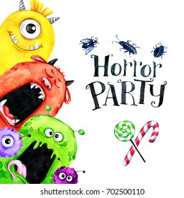 Hand drawn vertical frame with watercolor funny monster heads. Celebration illustration. Cartoon horror party. Funny beasts. Baby background. Can be use in holidays, birthday design, posters, cards.
