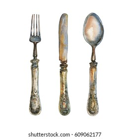 Hand drawn vintage bronze cutlery set. Watercolor old fork, knife and spoon in rustic style. Painting antique illustration on white background