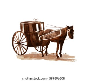 Hand drawn vintage horse cab, watercolor illustration, 1890s
