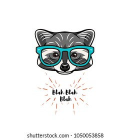 Hand drawn vintage Illustration of raccoon with smart glasses. Raccon geek.  illustration. Raccon hipster.