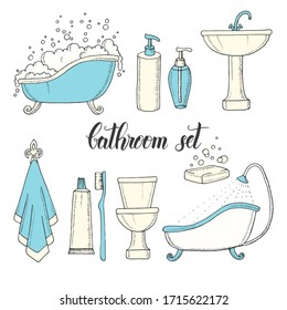 Hand drawn vintage set of colored objects from the bathroom. Bathtub, toilet, washbasin, shower, soap, shampoo, towel, toothbrush, toothpaste. Hand made lettering.