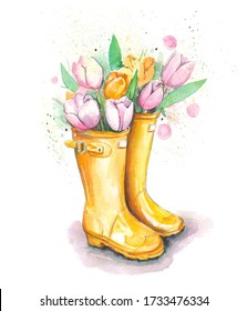 Hand drawn watercolor artwork. Painted aquarelle picture. Artist painting. A bouquet of fresh Dutch tulips with buds and leaves in yellow high rubber boots. Beautiful spring flowers.