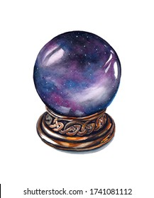 Hand drawn watercolor artwork. Painted aquarelle picture. Artist painting. An ancient purple glowing magic ball of predictions. An unusual wizard's inventory. A sphere with a portal inside.