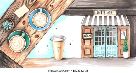 Hand drawn watercolor artwork. Painted aquarelle picture. Artist painting. Exterior of European city coffee shop in vintage style. Wooden table with cups of coffee cappuccino and latte. Coffee to go.